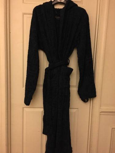 PENDLETON HOME COLLECTION NAVY SCULPTED COTTON TERRY SPA HOOD ROBE (SZ L-XL) NEW