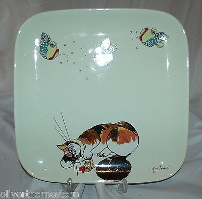 BLUE SKY CERAMIC Cat & Fish Design Ceramic Platter Serving Plate Lynda Corneille