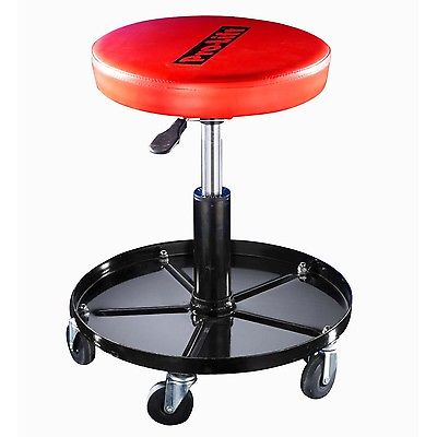 Shop Stool Adjustable Height Tools Tray Garage Rolling Chair Swivel Working Seat