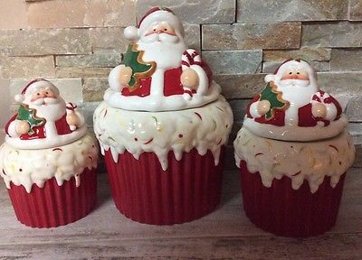 Homco Home Interiors Santa Canister Cookie Jar Set of 3 NEw