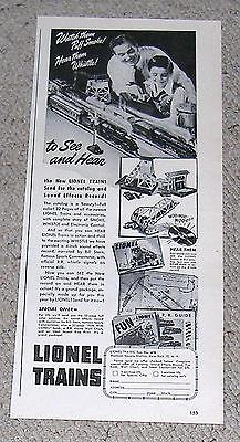 Vintage 1947 Lionel Trains Half Page Ad.