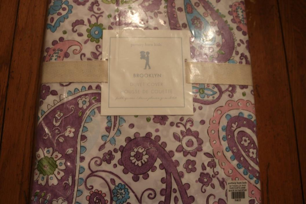 NEW POTTERY BARN KIDS BROOKLYN PAISLY FULL/QUEEN DUVET COVER LAVENDER NWT
