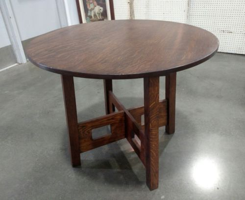 CHARLES LIMBERT CUTOUT LAMP TABLE Arts & Crafts Mission Oak Stickley Era Antique
