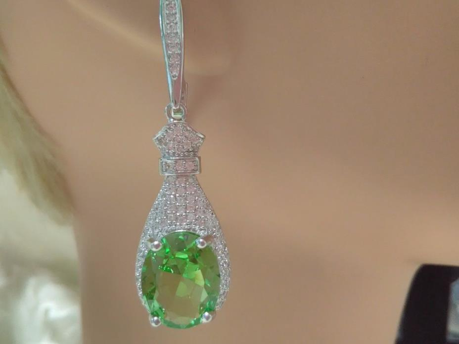 925 Silver, Tsavorite Garnet w/White Topaz Bottle Earrings