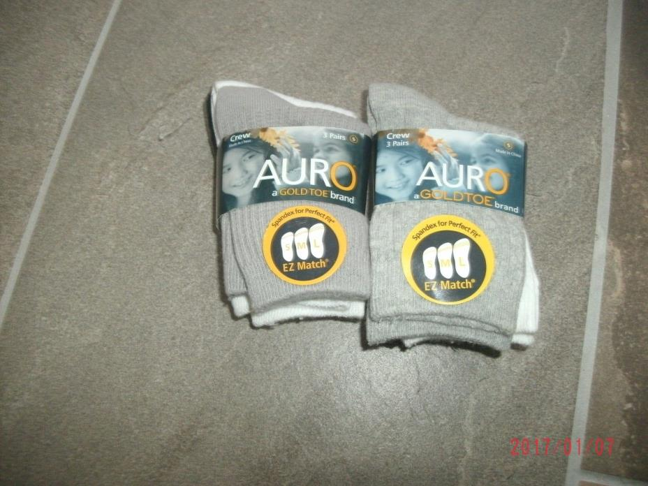 Auro Toddler Boys Socks  Size Small shoe size 3-8 1/2  NEW  lot of 2 pkgs or 6