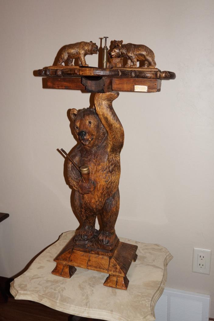 Antique Black Forest Bear Smoking Stand