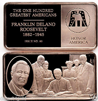 FDR Franklin D. Delano Roosevelt Commemorative Proof Bronze Ingot Medal
