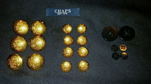 14 CHAPS GOLD TONE BLAZER JACKET REPLACEMENT BUTTONS