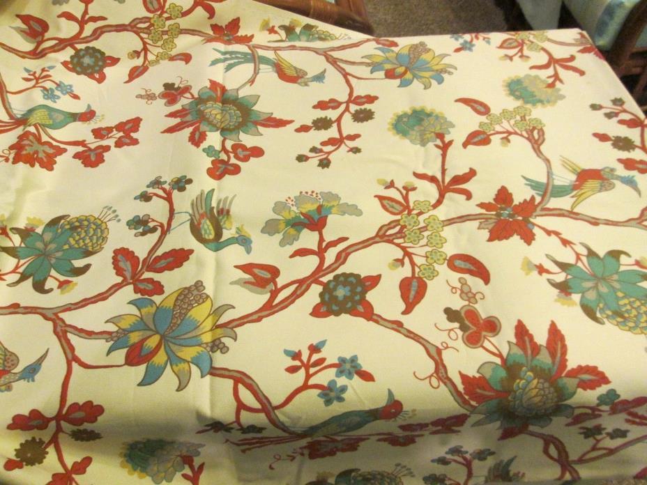 Vintage Laura Ashley- Home Decor Cotton Fabric--1.66 yds- Beige-Birds/Floral-New