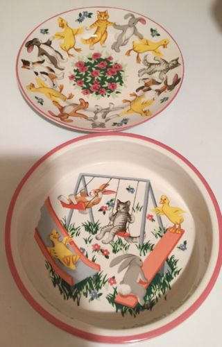VINTAGE TIFFANY PLAYGROUND BOWL AND PLATE SET