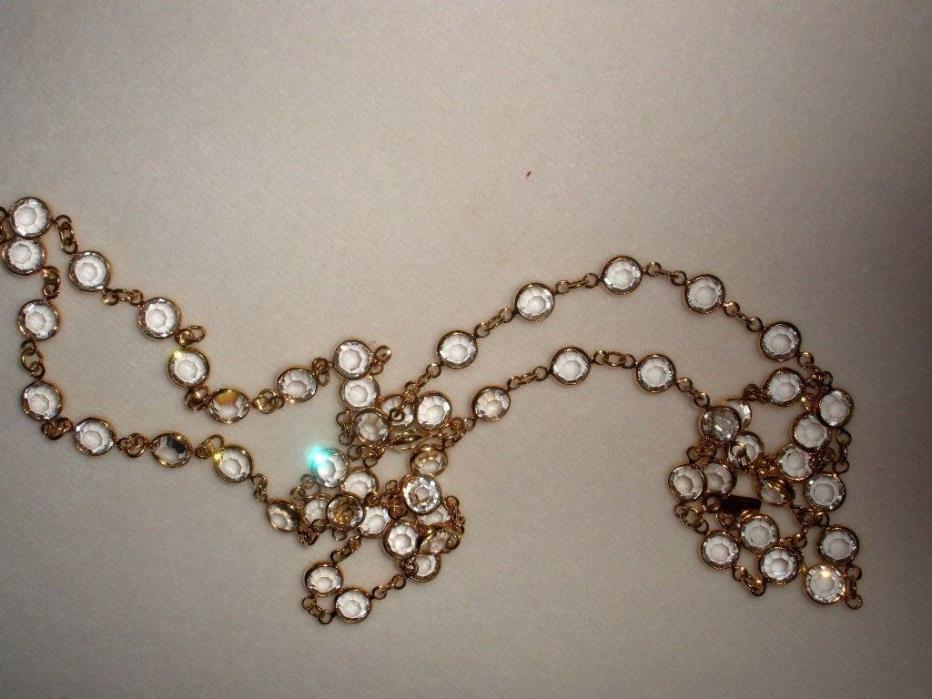Swarovski Vintage Necklace Sparkling Clear Bezel Set Crystal.