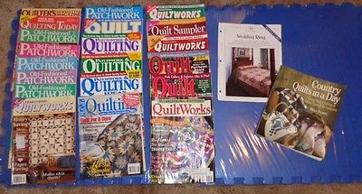 20 Vintage Quilting Magazines from 1985-2004 and Country Quilts in a Day Book