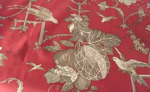 BRUNSCHWIG & FILS KININVIE BIRDS TOILE FABRIC REMNANT RED 28