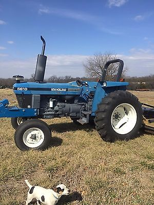 New Holland 5610 S Tractor w/Landpride mower deck, box blade, 3 point auger