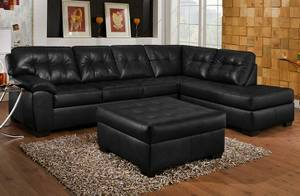 Red leather sofa sectional with chaise (Design it for FREE!!