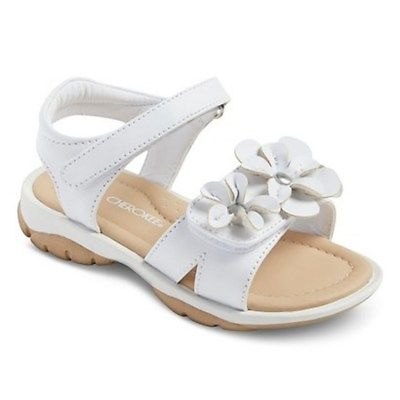 NWT Cherokee Jolina White Flowers Sandalls Toddler Girls Size 10, 11 or 12