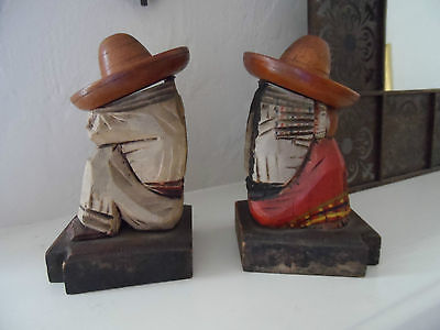 Vintage Mexican Couple Wooden Figures $85-