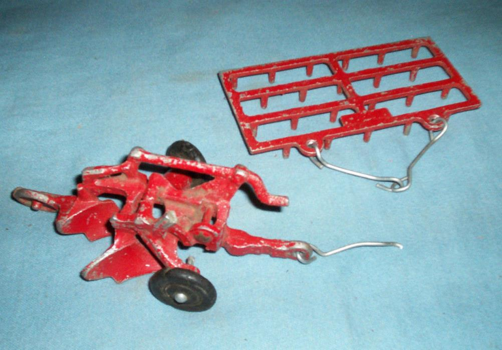 Lot of 2 Cast Iron Red Farm Toys Plow and Harrow Rake Arcade?