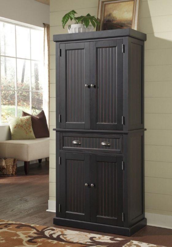 Kitchen Pantry Cabinet Storage Wood Cupboard Organizer Vintage Black Furniture