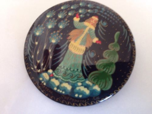 Vintage Brooch Russian Lacquer Winter Scene Lady Hand Painted