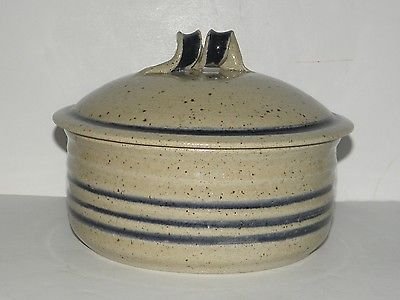 Vintage Pottery Pot with Lid (Decorative Handle) Signed CROWDER Pottery 1982