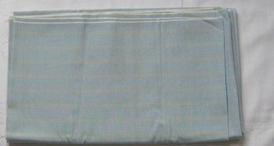 Vintage Fabric Dacron Cotton Sky Blue with Yellow Stripes 45in Width 2.5 Yards