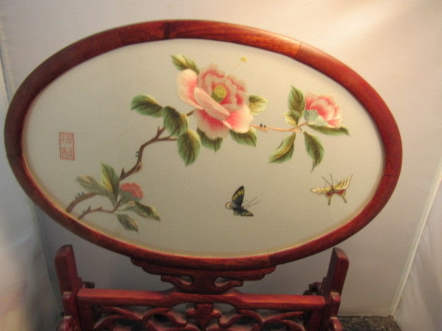 vintage  Chinese Silk Embroidery Framed