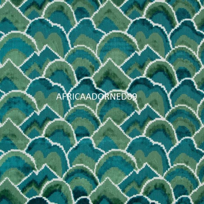 MAGNIFICENT  WOVEN CUT VELVET UPHOLSTERY FABRIC 5 YARDS  MULTI GREENS