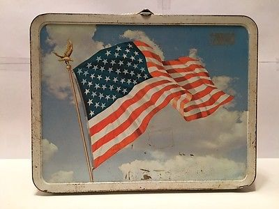 1973 Old Glory American Flag Metal Lunch Box