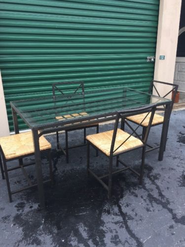 Wrought Iron Glass Table And 4 Wicker Chairs
