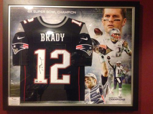 Tom Brady Signed Framed Nike Elite Navy Blue Jersey Super Bowl 49 Collage