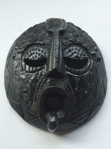 Ashanti Tribal Mask Finely Detailed African Carved Wood Mask