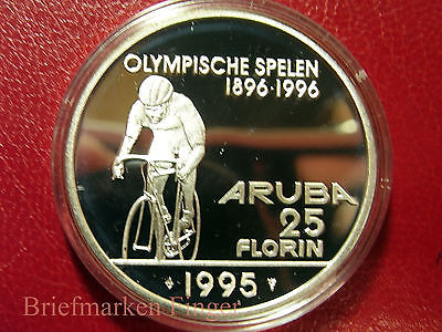 1995 Aruba Large Silver Proof 25 Fl Olympic Cycling