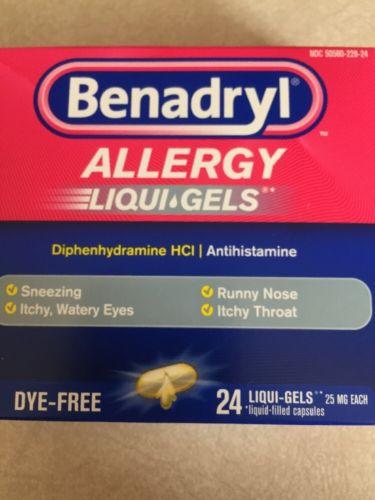 Benadryl Allergy Liqui-Gels Dye-Free 24 Liqui-Gels