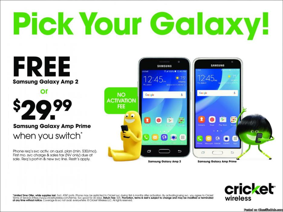 Pick Your Galaxy - FREE or $29.99 at Cricket Wireless!