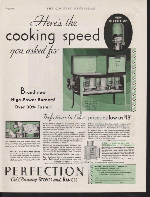 1931 PERFECTION STOVE OIL KEROSENE COOK RANGE KITCHEN 12810