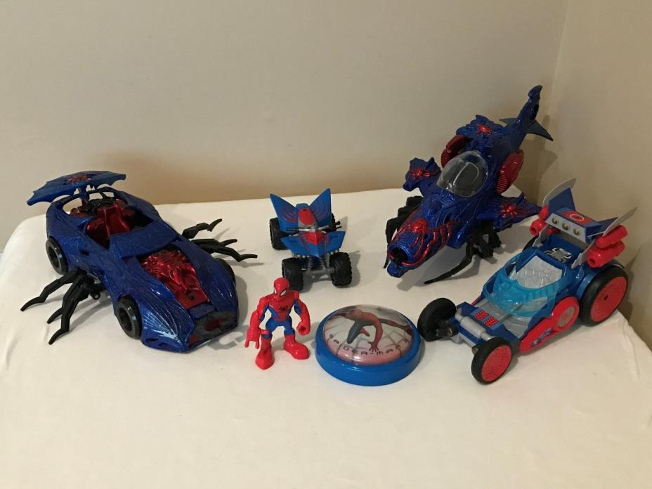 Spiderman Lot Buggy Car, Motorcycle, Figure, Vintage 2003 Web Car & Helicopter G