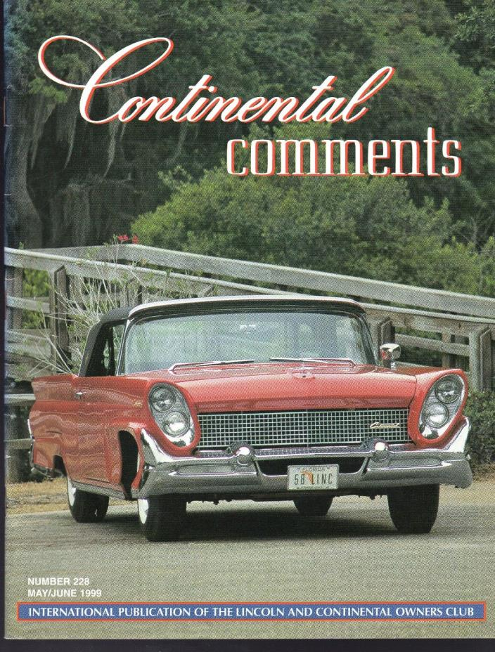Lincoln Continental Comments Magazine May / June 1999 #228 Excellent 1958