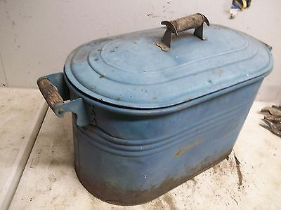 Old painted Steel Wash Boiler Laundry Tub & Lid for  Flower Pot Garden Planter