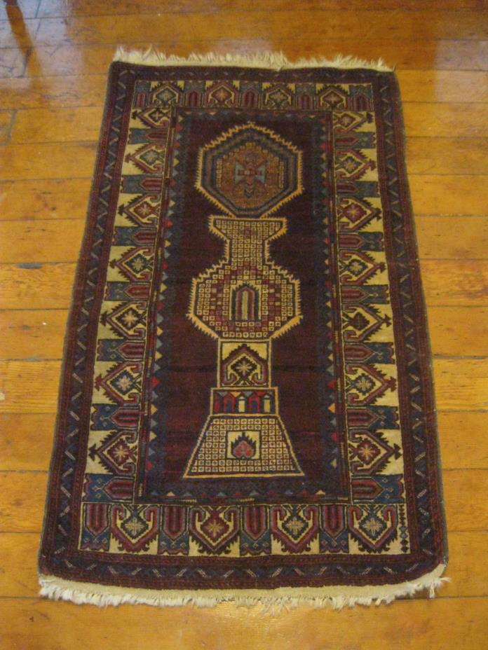 Rare Unoque Hand Knotted Antique Persian Prayer Balouch Wool Rug Carpet