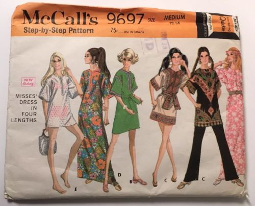 Vtg McCalls Pattern #9697 size miss 12-14  Medium Caftan Tunic 70s  UNCUT