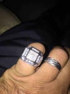 14 k white gold men's ring