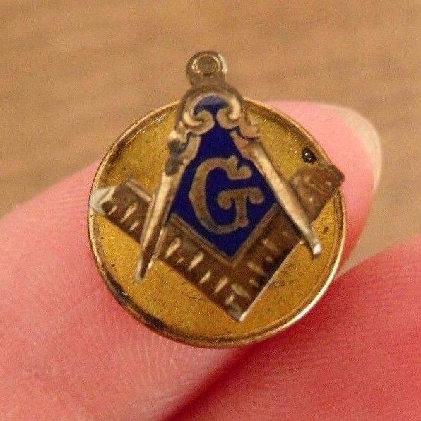 Vintage Lapel Pin G Mason Screwback ~Masonic Enamel