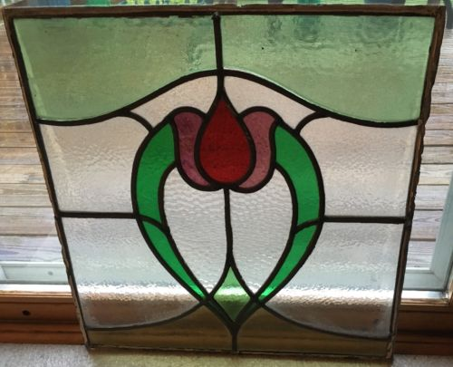 Antique Stained Glass Window Three Color Tulip Heart 19