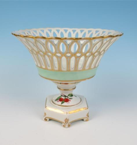Antique Old Paris Porcelain Centerpiece Compote Corbeille Hand Painted Fruit