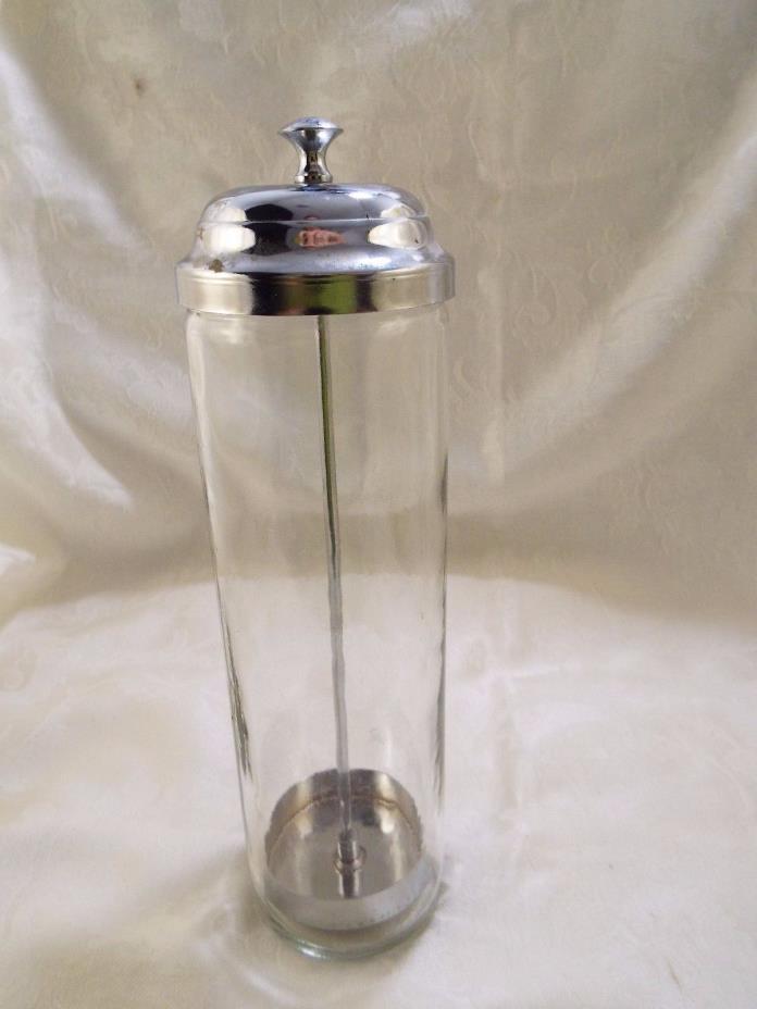 Vintage Glass Straw Holder / Olive Pickle Dispenser