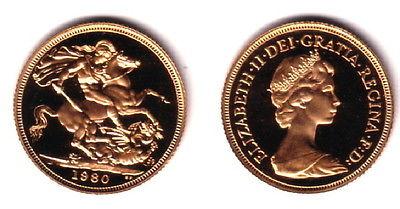 1980 GOLD QUEEN ELIZABETH THE SECOND ENGLISH SOVEREIGN--A GEM BU BLAZER