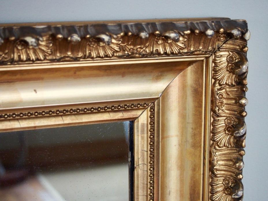 Antique Gilt Wood Gesso Picture Frame Mirror