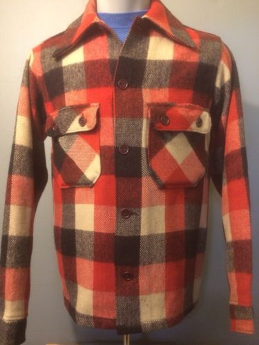 Vtg Sportclad Wool Shirt Jacket Buffalo Plaid Check Hunting Camp Mens 1940S 50s