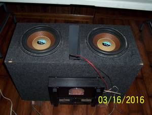 Subs and amp mounted in box (Effingham)